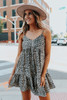 Button Detail Leopard Babydoll Dress