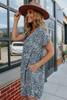Cuffed Sleeve Grey Leopard Babydoll Dress