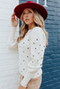 Puff Sleeve Dotted Cream Sweater