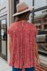 Short Sleeve Tiered Rust Printed Top