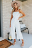 Side Button Ivory Striped Jumpsuit