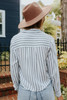 Button Down Striped High Low Knot Top