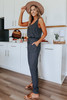 French Terry Drawstring Charcoal Jumpsuit