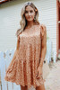 Cap Sleeve Taupe Printed Tiered Dress