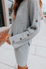 Button Detail Grey Flecked Sweater Dress