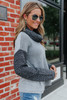 Cowl Neck Textured Colorblock Sweater