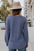 V-Neck Striped Brushed Pullover