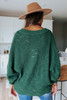 Scalloped Dolman Green Textured Sweater