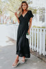 Flutter Sleeve Wrap Black Maxi