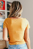 Everly Button Detail Mustard Ribbed Top