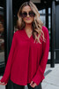 V-Neck Wine High Low Blouse