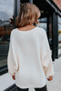Boatneck Dolman Cream Ribbed Sweater