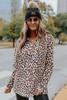 Half Zip Leopard Sherpa Pullover