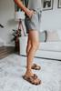 Drawstring Olive Ribbed Lounge Shorts
