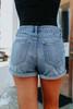 Summer Shandy Dark Wash Distressed Cuffed Shorts
