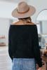 One Wish Boatneck Black Eyelash Sweater