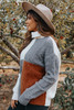 Westerly Colorblock Turtleneck Cable Sweater
