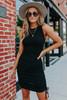 Ruched Side Black Ribbed Dress