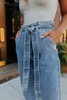 Paperbag Light Wash Cropped Jeans