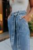 Paperbag Light Wash Cropped Jeans