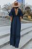 V-Neck Crochet Detail Maxi Dress