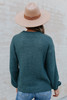 Two Tone Cable Detail Green Sweater