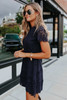 Mock Neck Navy Scalloped Lace Dress