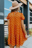 Short Sleeve Camel Dotted Tiered Dress