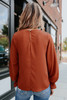 Brienne Smocked Cuff Rust Blouse
