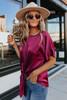 Naomi Satin Kimono Wine Knot Top
