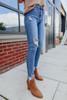 Late Night Distressed Medium Wash Skinny Jeans