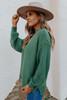 Mock Neck Green Seam Detail Sweater