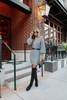 V-Neck Grey Ribbed Sweater Dress