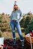 Dolman Boatneck Grey Ribbed Sweater