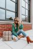 Mock Neck Green Confetti Sweater