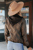 Hooded Sweatshirt Vegan Leather Coffee Jacket