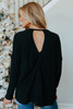 Everly Open Twisted Back Black Top