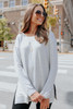 Coffee House Side Slit Grey Pullover