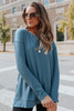Coffee House Side Slit Teal Pullover