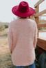 V-Neck Mauve Popcorn Sweater