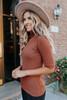Mock Neck Hazelnut Ribbed Sweater