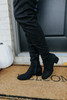 Faux Suede Black Knee High Boots
