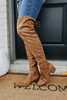 Faux Suede Coffee Knee High Boots