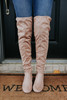 Faux Suede Taupe Knee High Boots