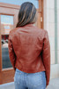 Rogue Quilted Rust Vegan Leather Jacket