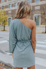 One Shoulder Tie Waist Metallic Dress