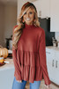 Mock Neck Marsala Ribbed Tiered Top