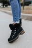 Lace Up Faux Fur Black Boots