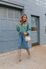 Boatneck Dolman Green Ribbed Sweater