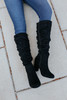 Faux Suede Black Ruched Knee High Boots